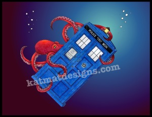 #tardis #doctorwho #octopus #digitalart