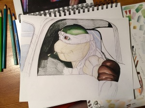 Donatello Drawing being colored